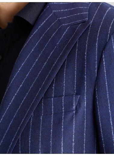 Dufy Lacıvert   Yün Karışımlı Çızgılı Erkek Ceket - Slım Fıt Lacivert